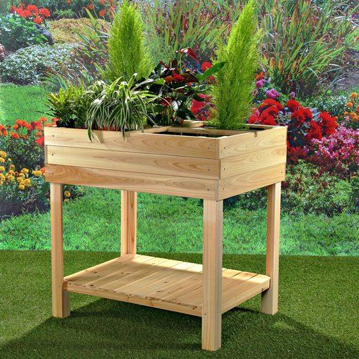 Mucola Hochbeet »Hochbeet 4 Fächer Gartenbeet Holz Blumenständer Pflanzkasten Pflanztisch Gemüsebeet Gärtnertisch«, 80x60x80 cm