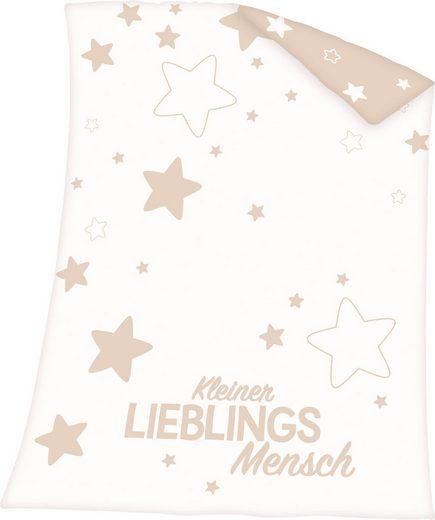 Babydecke »Kleiner Lieblingsmensch«, Baby Best, mit Schriftzug und Sternen