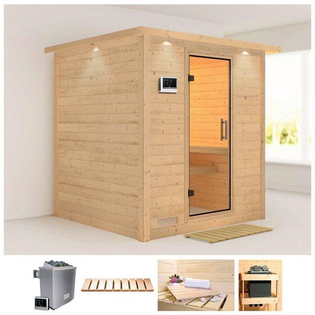 Saunen und Zubehör - KARIBU Sauna »Mojave«, 224x210x206 cm, 9 kW Ofen mit ext. Steuerung, Dachkranz  - Onlineshop OTTO