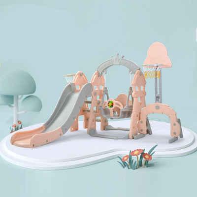Merax Rutsche »Happy Kingdom«, für Kinder 5 in 1 Kinderrutsche mit Schaukel, Basketballkorb, Fußballtor, Indoor und Outdoor