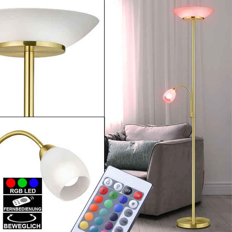etc-shop LED Deckenfluter, Decken Fluter dimmbar messing Steh Leuchte Glas weiß Fernbedienung im Set inkl. RGB LED Leuchtmittel