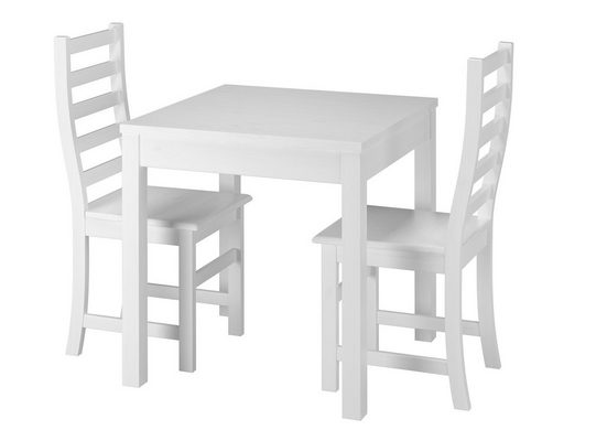 ERST-HOLZ Essgruppe »Moderne weiße Essgruppe mit Tisch und 2 Stühle Kiefer Massivholz 90.70-50 A W Set 21«