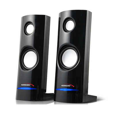 Audiocore AC860 Stereo, 2.0 PC-Lautsprecher (8 W, Lautstärkeregelung, Blaue LED-Beleuchtung)