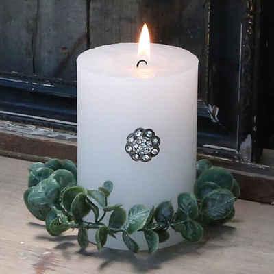 Chic Antique Teelichthalter »Kerzenspieß BLUME silber Kerzendeko Glitzersteine Strass Brosche mit Nadel«