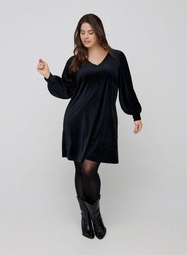 Zizzi A-Linien-Kleid Große Größen Damen Velourkleid mit langen Puffärmeln und V-Ausschnitt