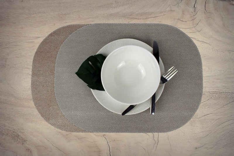Platzset, »Tischsets 6-er Set oval Rochen Optik beidseitig verwendbar«, Signature Home Collection, (Set, Tischset 6-er Set Kunstleder 45 x 33 cm), beidseitig verwendbar mit 2 unterschiedlichen Farben