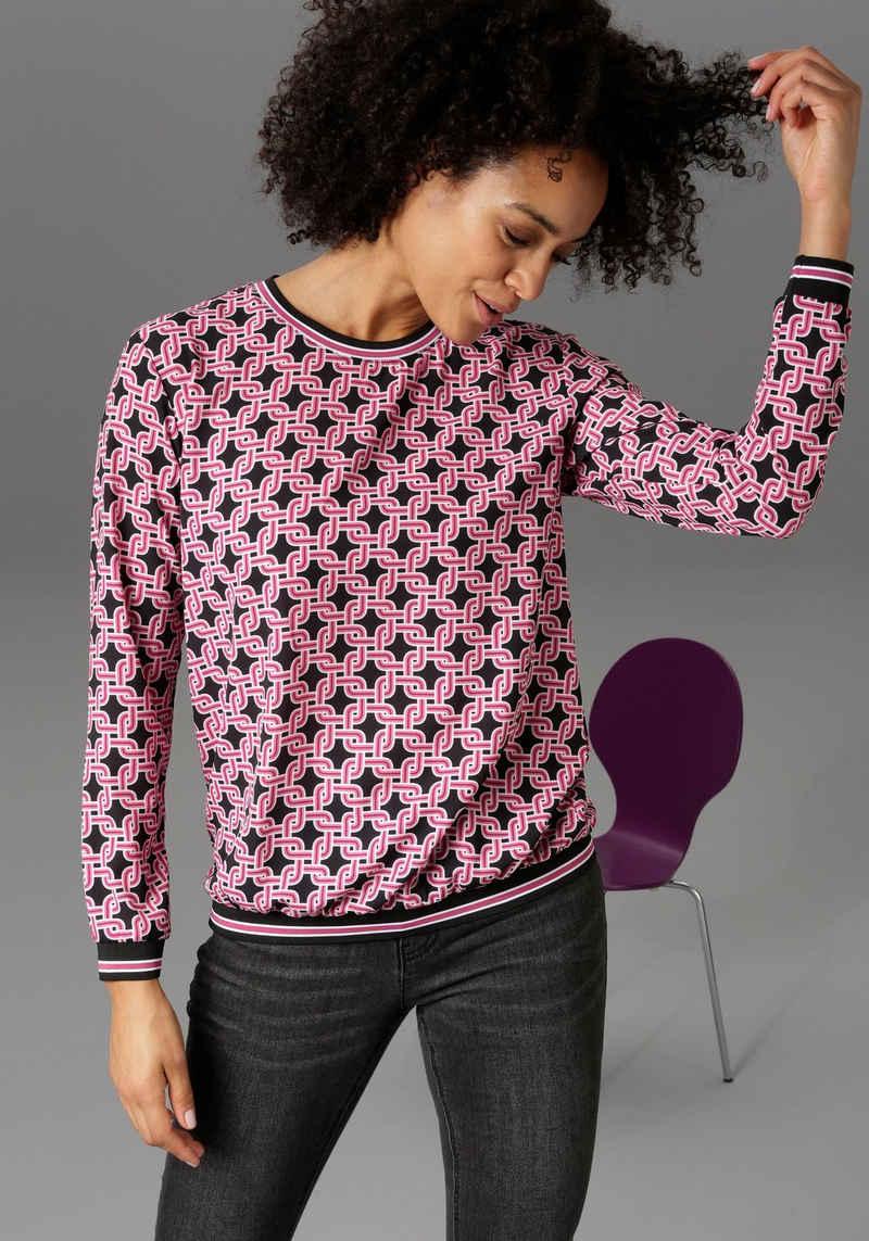 Aniston CASUAL Shirtbluse mit Retro-Druck und gestreiften Bündchen