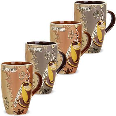 matches21 HOME & HOBBY Becher »Kaffeebecher 4er Set Modern Coffee 12 cm«, Keramik