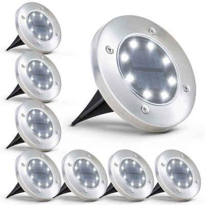 B.K.Licht Gartenstrahler, 8er-Set Solar LED-Außenleuchte, Ø119 mm, IP65 wasserdicht, Automatisch Ein/Aus, LED-Gartenlampe, Bodenleuchte, Solarleuchte