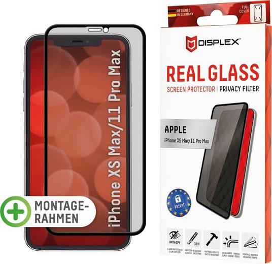 Displex »DISPLEX Privacy Glass Panzerglas für Apple iPhone XS Max/11 Pro Max (6,5), 10H Tempered Glass, mit Montagerahmen, Full Cover« für iPhone Xs Max / 11 Pro Max, Displayschutzfolie
