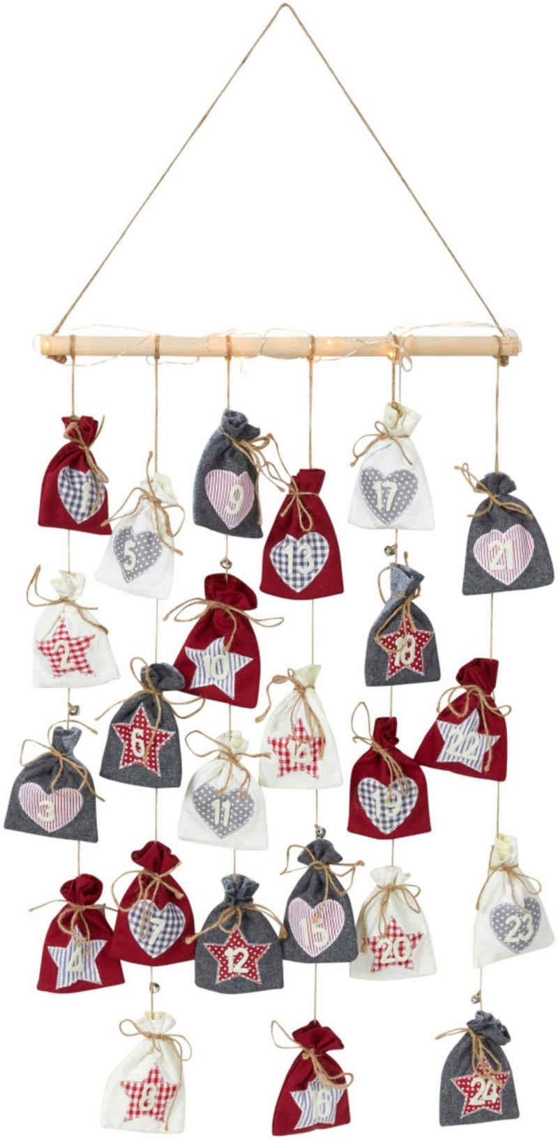 befüllbarer Adventskalender »Sterne & Herzen«, mit 24 kleine Beutel und Lichterkette