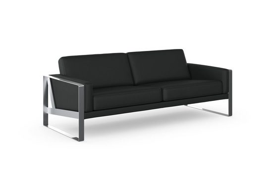 machalke® 3-Sitzer »frame«, Ledersofa mit Kufe silberfarben