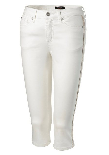 Hosen - Aniston SELECTED Caprijeans mit glänzdem Tape › weiß  - Onlineshop OTTO