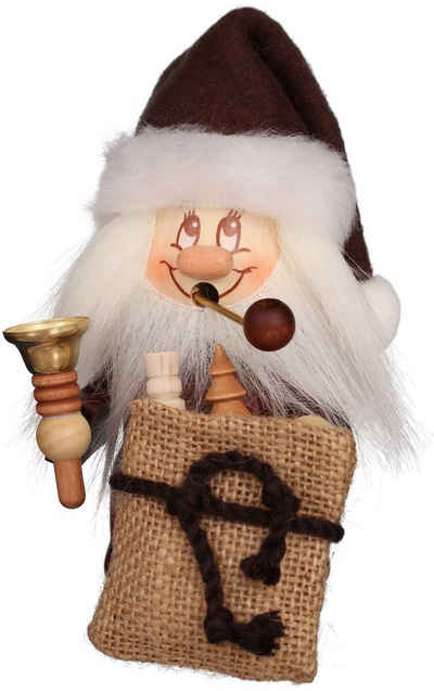 Albin Preissler Räuchermännchen »Miniwichtel Weihnachtsmann mit Glocke«, Original Erzgebirge Holzkunst, inklusive Räucherkerzen