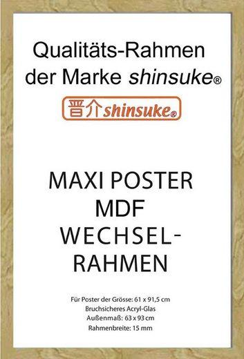 empireposter Rahmen »Wechselrahmen, Shinsuke® Maxi MDF mit Acryl-Scheibe für Poster der Grösse 61x91,5 cm«, Ausführung: Buche (Imitat)