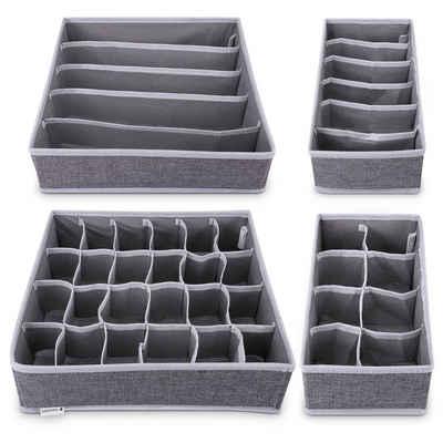 Navaris Aufbewahrungsbox, Organizer Ordnungssystem für Wäsche - 4 Boxen für Kleiderschrank oder Schubladen - Stoffboxen in verschiedenen Größen
