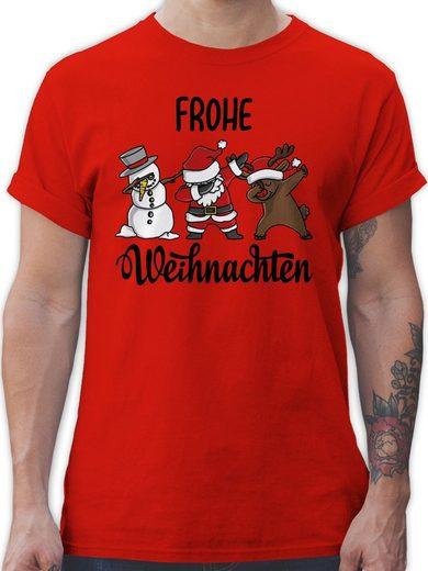 Shirtracer T-Shirt »Frohe Weihnachten mit Dabbing Figuren - schwarz - Weihnachten & Silvester Geschenke - Herren Premium T-Shirt« Neujahrsgeschenke Party Deko
