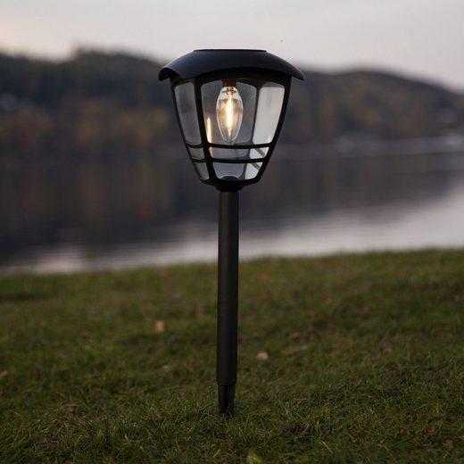 STAR TRADING LED Pollerleuchte »LED Solar Wegleuchte FELIX warmweiße Filament LED H: 45cm D: 14cm Sensor«