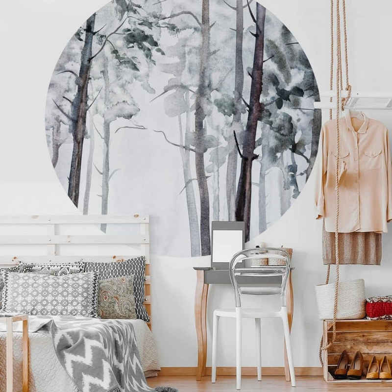 K&L Wall Art Fototapete »Runde Fototapete Aquarell Wald Tapete kunstvolle Vliestapete Wandbild«, Wasserfarben