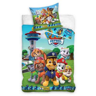 Kinderbettwäsche »Paw Patrol Bettwäsche 135x200 + 80x80 cm 2 tlg., 100 % Baumwolle, Bettwäsche-Set für Kinder, Mädchen und Jungen«, MTOnlinehandel
