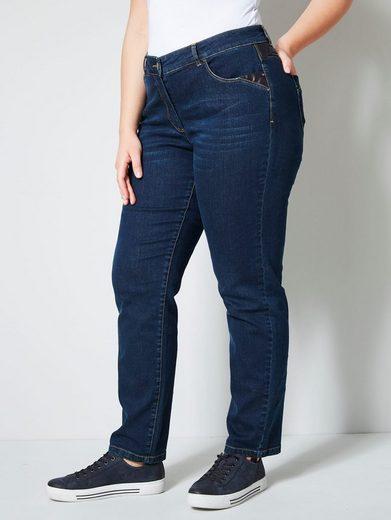 Janet & Joyce by Happy Size Jeans mit Lederimitateinsatz