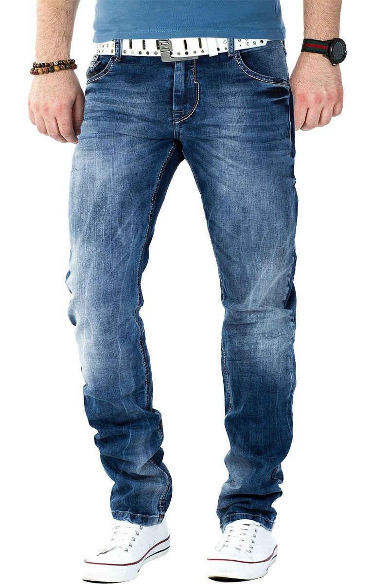Cipo & Baxx 5-Pocket-Jeans »BA-CD319 Jeans Hose Stonewashed Freizeithose« Klassische Jeans mit grau verzierten Nähten an den Gesäßtaschen und einem used Look