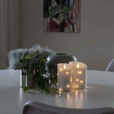 KONSTSMIDE LED-Kerze »LED Kerze Echtwachs silberfarbenem Draht 3D Flamme Timer H: 13,5cm weiß«
