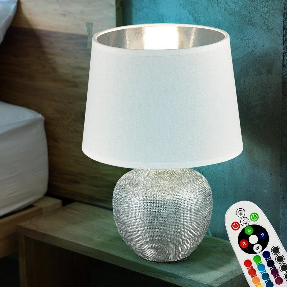 etc shop Tischleuchte, Tisch Lampe Keramik Ess Zimmer Stoff Leuchte  Nacht Licht DIMMBAR im Set inkl. RGB LED Leuchtmittel online kaufen   OTTO