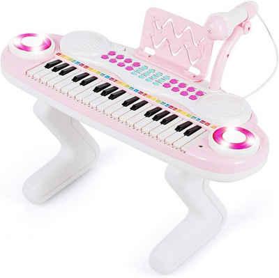 COSTWAY Spielzeug-Musikinstrument »Kinder Keyboard«, 37 Tasten Klaviertastatur mit Licht, Klavier Spielzeug elektronisch mit Ständer, Musikinstrument mit Aufnahme- und Abspiel-Funktion