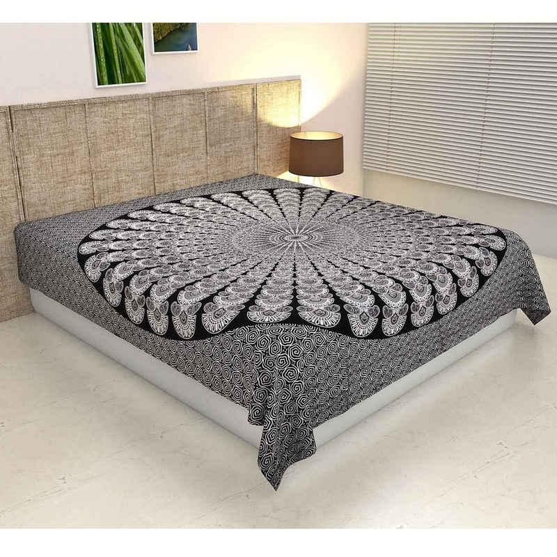 Bettüberwurf »Doppelbett Überwurf Mandala Amba 220x240 cm, Wanddekoration Tagesdecke dekorativer Wandteppich Boho-Stil, «, Casa Moro, MA7506