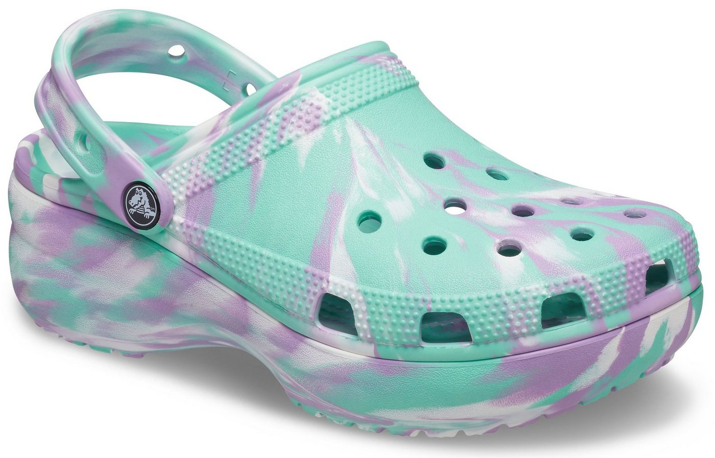 Clogs - Crocs »Classic Platform Marbled Clog« Clog mit pastellfarbenem Batikmuster › grün  - Onlineshop OTTO