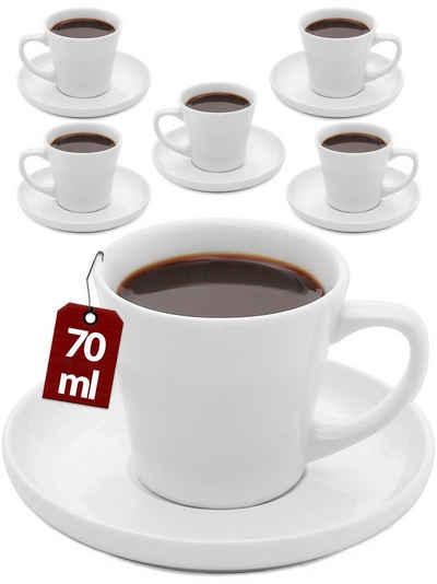 Cosumy Espressotasse »6er Espressotassen Set Weiß«, Keramik, Espressotassen 6er Set Bunt mit Untertassen - Keramik - Hält Lange Warm - Moderner Farbmix - Geschenkbox - 70ml