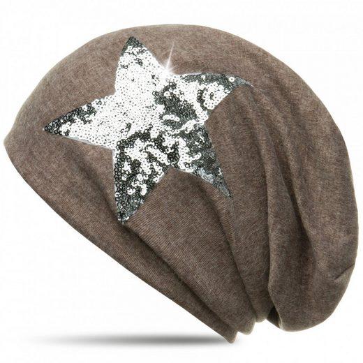 Caspar Beanie »MU136 Mütze mit Pailletten Stern und warmem Flanell Stoff«