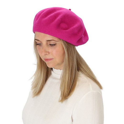 halsüberkopf Accessoires Baskenmütze »Filzbaske« modische Baskenmütze aus reinem Wollfilz