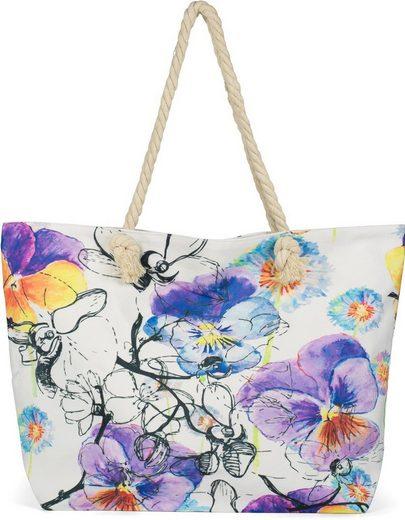 styleBREAKER Strandtasche, Strandtasche Veilchen Muster