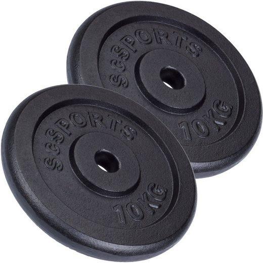 ScSPORTS® Hantelscheiben »Hantelscheibenset Gusseisen 30 mm 2x10 kg«, 20 kg, (Set, 2-tlg)