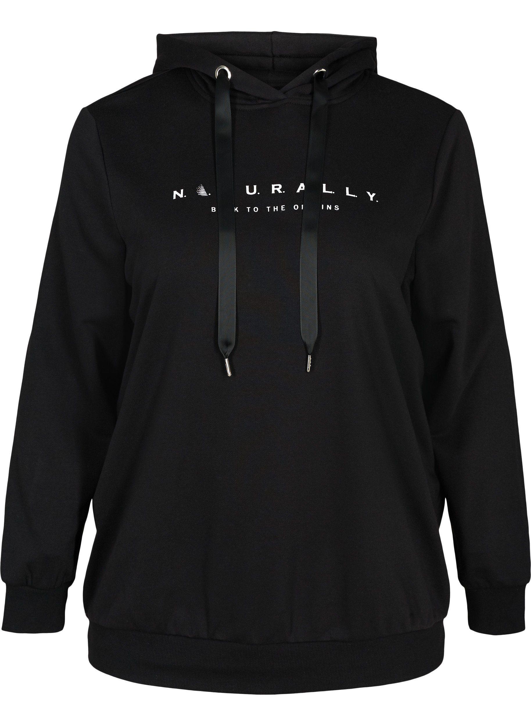 Zizzi Hoodie Große Größen Damen Kapuzen Sweatshirt mit Print und Rippsaum online kaufen | OTTO