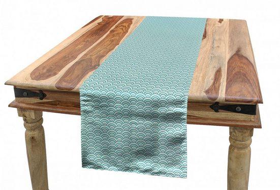 Abakuhaus Tischläufer »Esszimmer Küche Rechteckiger Dekorativer Tischläufer«, Aqua Kurvige Linien Bubbles Sea