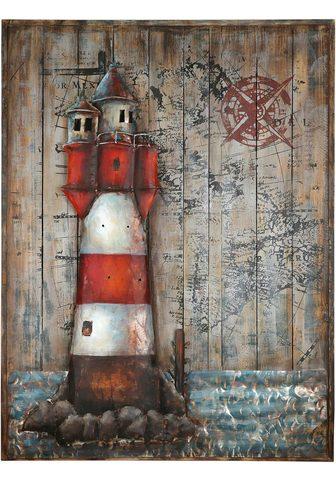 GILDE GALLERY Metallbild »Kunstobjekt Leuchtturm« šv...
