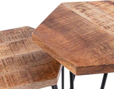 byLIVING Beistelltisch »Elea«, aus Massivholz, bestehend aus 2 Tischen