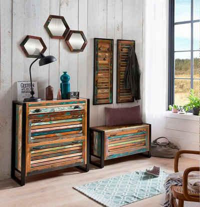 SIT Garderoben-Set »Fiume«, (7-St), im Vintage Stil, rcyceltes Altholz in Lamellen Optik