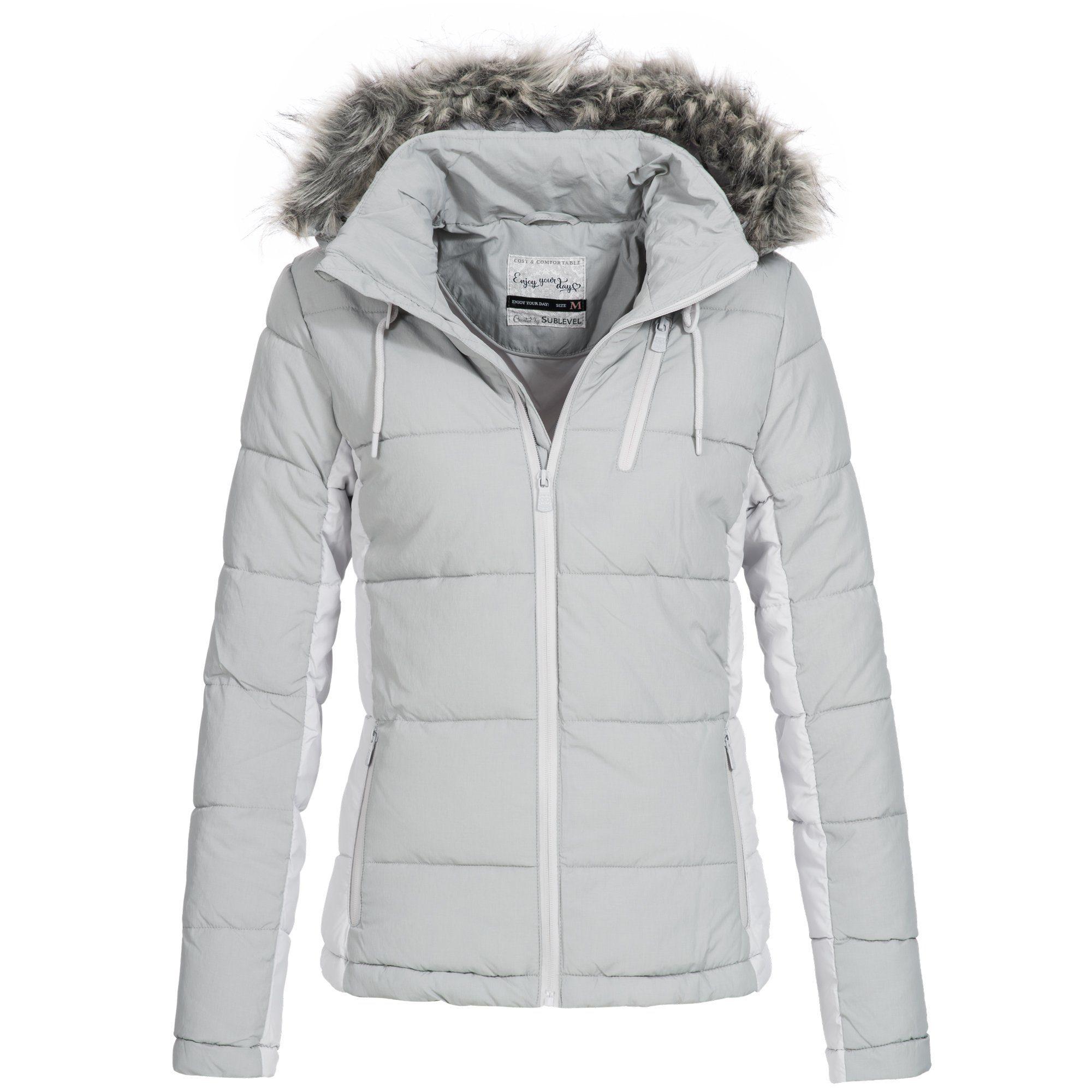 Sublevel Damen Winter Jacke abnehmb. Kapuze 2 Pockets