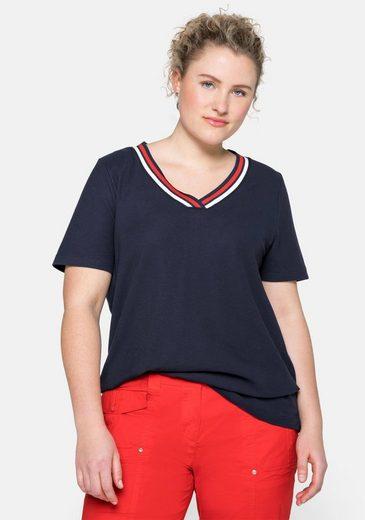 Sheego T-Shirt in Piqué-Qualität mit Kontrastdetails