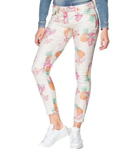 BLUE FIRE Ankle-Jeans »BLUE FIRE Co Ankle-Jeans Chloe super softe Damen Skinny-Fit-Hose mit Blumenmuster Sommer-Hose Weiß«
