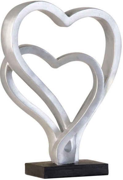 GILDE Dekoobjekt »Skulptur Hearts, antik silberfarben« (1 Stück), Höhe 30 cm, Herz-Form, antikfinish, Wohnzimmer
