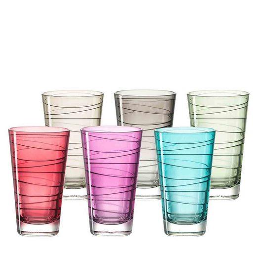 LEONARDO Gläser-Set »VARIO groß 0,2l farbig sortiert 6er Set« (6-tlg)