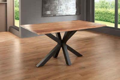 Junado® Baumkantentisch »Spyro«, Akazie Massivholz naturfarben 26mm natürliche Baumkante
