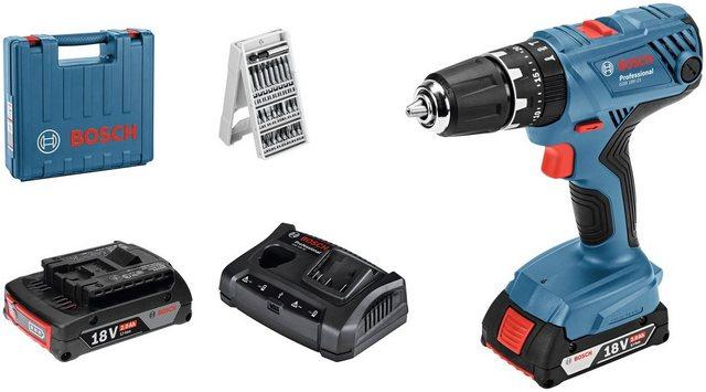 BOSCH PROFESSIONAL Set: Akku-Schlagbohrschrauber »GSB 18V-21«, mit 2. Akku, Ladegerät und 25-tlg. Bit-Set, im Koffer | Baumarkt > Werkzeug > Werkzeug-Sets | Blau | Bosch Professional