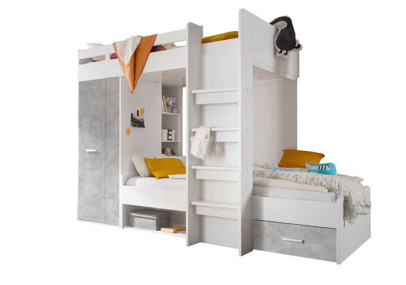 Kindermöbel 24 Etagenbett »Etagenbett Nils weiß-Beton inkl Kleiderschrank+Schubkasten+Regale«