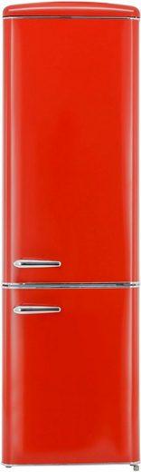 exquisit Kühl-/Gefrierkombination RKGC250-70-H-160E rot, 181 cm hoch, 55 cm breit